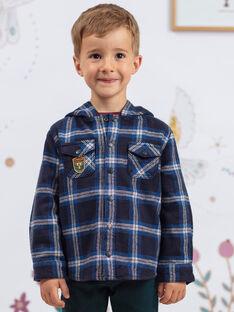 Blau und schwarz karierter Kapuzenpullover für Jungen BEXAGE / 21H3PG91SCH715