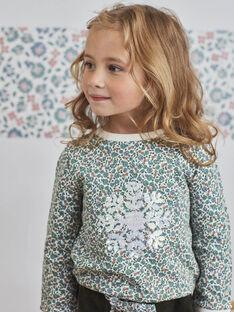 Baby-Mädchen-Sweatshirt mit Schneeflocken-Print und Wendepailletten BLASWETTE / 21H2PFO1SWE001