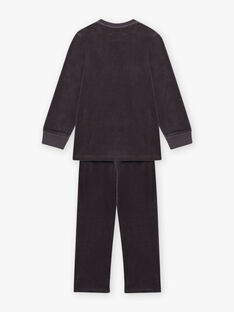 Dunkelgraues phosphoreszierendes Pyjama-Set für Jungen mit Kürbistasche BALOAGE / 21H5PGH1PYJJ905