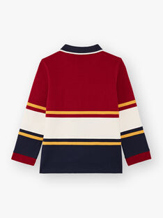 Rot und ecrufarben gestreiftes Poloshirt für Baby-Jungen BECIAGE / 21H3PG51POL503