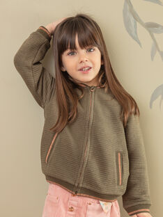 Khakifarbene Strickjacke für Mädchen ZASOETTE / 21E2PF71CAR604