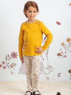 Girl's ecru floral print legging BUPOLETTE / 21H4PFJ1CAL001