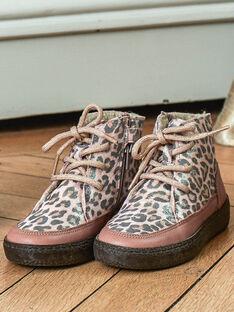 Mädchen rosa Pelzstiefel mit Leopardenmuster BEBOUTETTE / 21F10PF52D0D312
