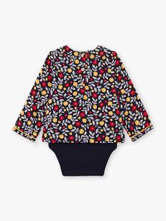 Marineblaue Bluse für Baby-Mädchen mit Blumendruck BAELISE / 21H1BF51BOD070