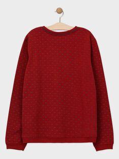 Bedrucktes und besticktes bordeauxrotes Sweatshirt für Männer SENOUAGEM / 19H3GHU1SWE503