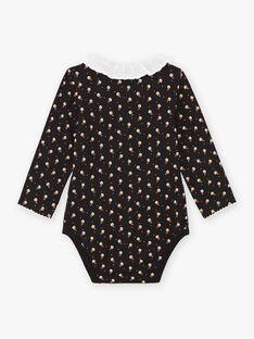 Schwarzer Langarm-Body für Baby-Mädchen mit Rüschenkragen BAMIMI / 21H1BFM1BOD090