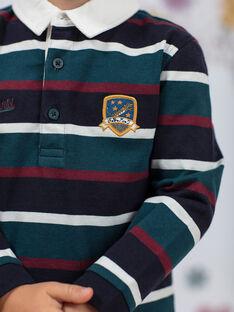 Entenblau und burgunderrot gestreiftes Poloshirt für Jungen BEROINAGE / 21H3PG91POL715