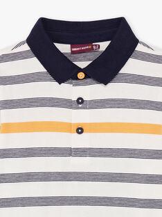 Weiß und marineblau gestreiftes Poloshirt für Jungen BUXAGE1 / 21H3PGB2POL001