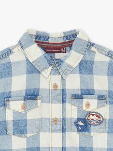 Blaues und ecrufarbenes Hemd für Jungen ZECIAGE / 21E3PGB1CHMC230