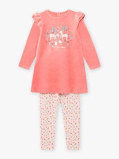 Korallenrotes Einhorn-Nachthemd und Leggings für Mädchen BEBOUNETTE / 21H5PF71CHN419