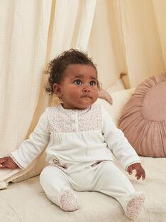 Baby-Mädchen-Strampler in Ecru und Samtmütze mit ausgefallenem Druck BONNETA / 21H0NFK1GRE001