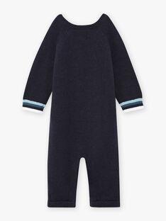 Mitternachtsblauer Strickoverall für Baby mit Fantasie-Schaf-Muster BANEWMAN / 21H1BGL1CBLC205