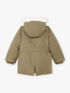 Khakifarbener Kapuzenparka für Mädchen mit integrierter Daunenjacke BLOTEDETTE / 21H2PFC1PAR604