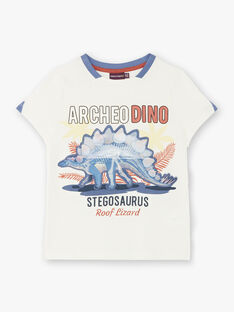 T-Shirt mit kurzen Ärmeln ecru Kind ZESOUAGE / 21E3PGB1TMC001