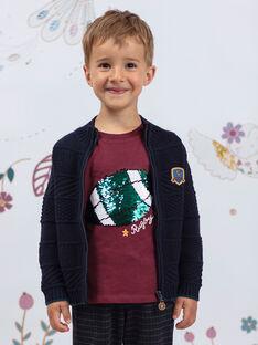 Burgunderfarbenes T-shirt für Jungen BERNAGE / 21H3PG91TMLF511