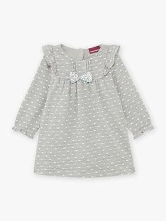 Baby Girl's Heather Grey Jacquard Kleid mit Punkten und Rüschendetails BAORELIA / 21H1BFO1ROB943