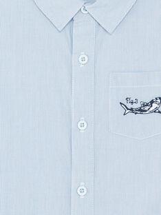 Hellblaues kurzärmeliges Hemd mit Streifen Jungen Jungen Streifen ZITOTAGE / 21E3PGT1CHM000
