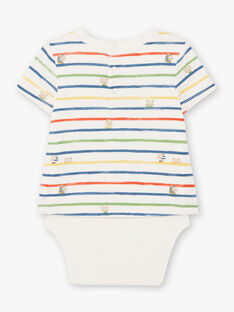 Baby Boy's ecru und blau gestreifter Bodysuit TARAFAEL / 20E1BGQ1BOD001