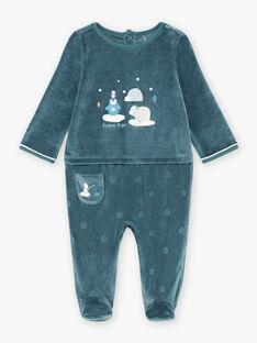 Blauer Samt-Strampler für Baby-Jungen mit Eisschollen-Tiermotiv BECELESTIN / 21H5BG74GRE720
