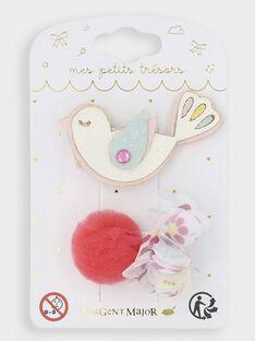 Set mit 4 Haarspangen mit Vogel und Pompons für kleine Mädchen TYCOMETTE / 20E4PFKCBRT000