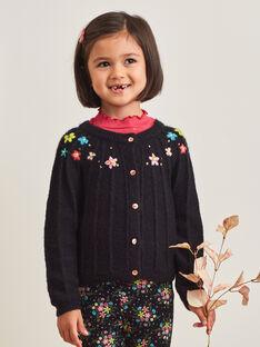 Schwarze Strickjacke für Mädchen mit floraler Stickerei BRICADETTE / 21H2PFM2CAR090