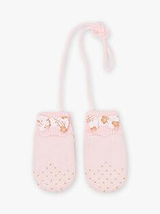 Baby Mädchen Rosa gestrickte Fäustlinge mit Schleife BIPROMESSE / 21H4BFD1GAN321