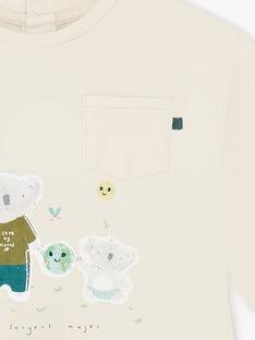 Beige und grün gestreiftes langärmeliges T-shirt ZAARMAND / 21E1BG71TML009