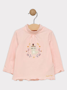 Rosa Baby-Rollkragenpulli für Mädchen SAPHILIPA / 19H1BFI1SPL311