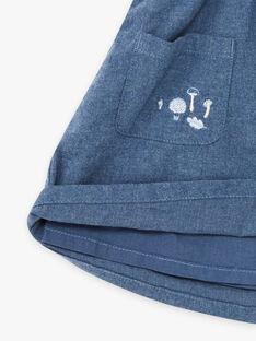 Blauer Rock mit Trägern mit Kaninchenmotiv für Mädchen BYJUPETTE / 21H2PFL1JUP222