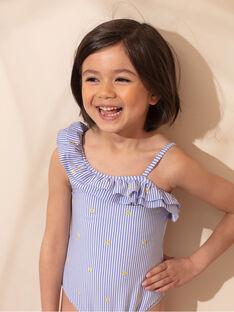 Einteiliger blau gestreifter Badeanzug mit gerüschtem Ausschnitt Kind Mädchen ZAIMAETTE / 21E4PFR1D4KC218