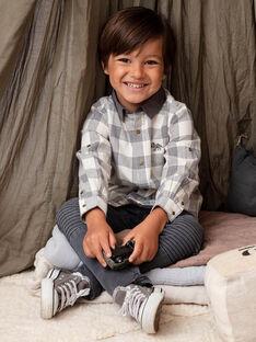 Zweifarbiges Langarmhemd für Jungen mit Karomuster BASHIRTAGE / 21H3PG21CHM001