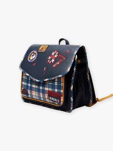 Marineblauer Schulranzen mit London-Muster und Karodruck Kind Junge BAZECAGE / 21H4PG52BES070