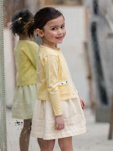 Zitronengelbe durchbrochene Strickweste für Kinder und Mädchen ZICADETTE / 21E2PFO1CARB104