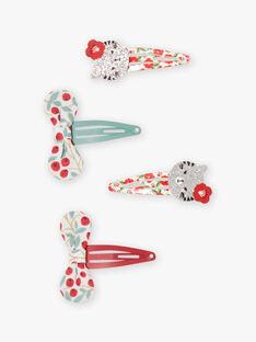 4 sortierte Katzen- und Schleifen-Haarspangen für Mädchen BABARETTE / 21H4PFS2BRTF505