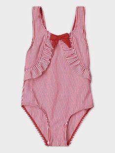 Gestreifter Badeanzug für kleine Mädchen, flieder TILIETTE / 20E4PFI4D4K001