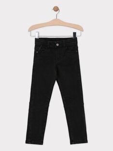 Schwarze Denim-Jeans mit Trikotfutter für Jungen SIOGAGE / 19H3PGO1JEAK003