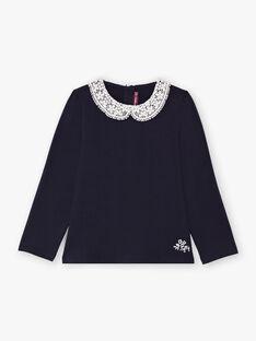 Marineblau Langarm-T-Shirt Kind Mädchen Claudine Kragen BROTOZETTE3 / 21H2PFB3TMLC214