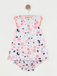 Baby-Kleid mit Blumenprint für Mädchen, ecrufarben TAQAMILLE / 20E1BFP1ROB001