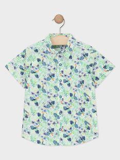 Hemd mit grünem Laubdruck für Jungen TUSAGE / 20E3PGX1CHM001