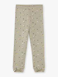 Khaki-Leggings für Mädchen mit Blumendruck BELUETTE / 21H4PF21CAL604