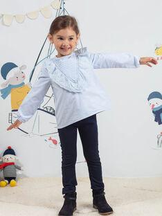Himmelblaue Bluse mit Rüschen für Kind Mädchen BYCHEMETTE / 21H2PFL1CHE020