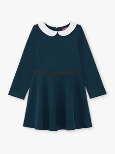 Langärmeliges Kleid für Mädchen in Entenblau mit Claudine-Kragen BROCOLETTE3 / 21H2PFB1ROB714