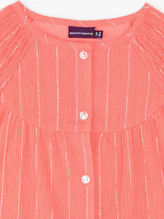 Koralle und Silber gestreifte Bluse aus Baumwollkrepp ZEPODETTE / 21E2PFI1CHE404