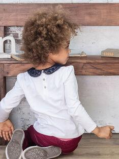 Langarm-T-Shirt ecru mit Claudine-Kragen, Kind Mädchen BROTOZETTE2 / 21H2PFB4TML001