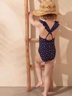 Einteiliger marineblauer Badeanzug mit goldenen Mustern Kind Mädchen ZAIJOETTE / 21E4PFR4D4K216