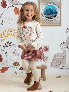 Kamelfarbene Wildlederstiefel mit Pailletten Kind Mädchen BECHELETTE / 21F10PF43D0D804