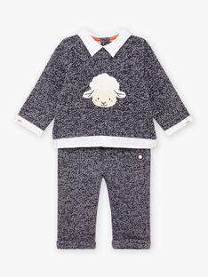 Blau gesprenkeltes Outfit für Baby-Jungen mit Schafs-Print BANICK / 21H1BGL1ENSC223