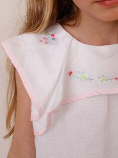 Bluse mit Volants für Mädchen, ecrufarben TYBOETTE / 20E2PFJ1CHE000