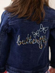 Dunkelblaue Jeansjacke mit Stickerei auf dem Rücken ZOUJINETTE / 21E2PFM3VESP269