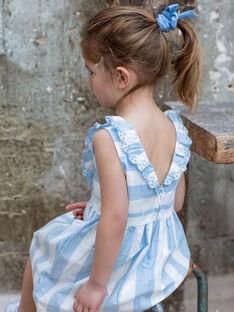 Besticktes Kleid mit weißen und blauen Streifen Kind Mädchen ZUROBETTE / 21E2PFT1ROB001